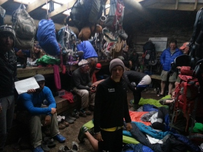 27 hikers in a 12 person Shelter